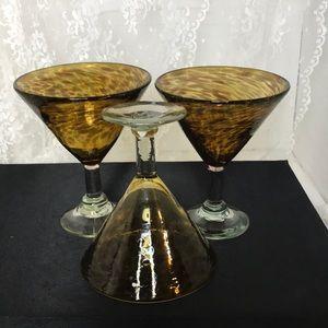 Set of 3 Handblown Art Glass Margarita Glasses